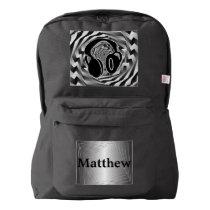 Black White & Grey Spiral Headphones American Apparel™ Backpack