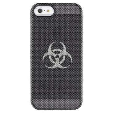Beach Themed Black White & Grey Toxic Carbon Fiber Clear iPhone SE/5/5s Case