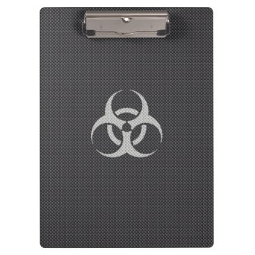 Halloween Themed Black White & Grey Toxic Carbon Fiber Clipboard