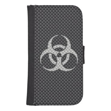 Beach Themed Black White & Grey Toxic Carbon Fiber Galaxy S4 Wallet Case