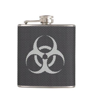 Beach Themed Black White & Grey Toxic Carbon Fiber Hip Flask