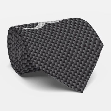 Halloween Themed Black White & Grey Toxic Carbon Fiber Neck Tie