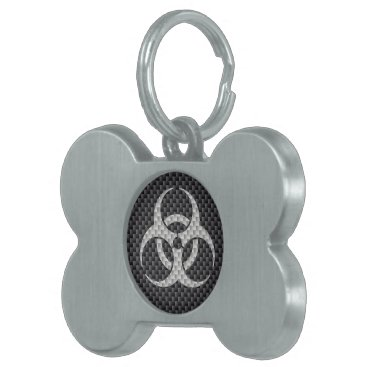Beach Themed Black White & Grey Toxic Carbon Fiber Pet ID Tag
