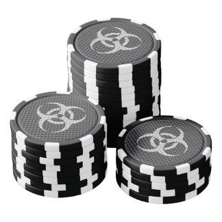 Black White & Grey Toxic Carbon Fiber Set Of Poker Chips