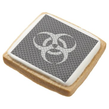 Beach Themed Black White & Grey Toxic Carbon Fiber Square Shortbread Cookie
