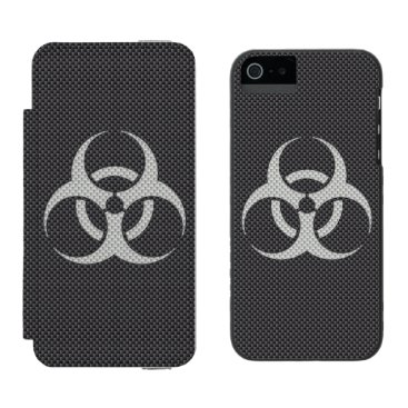 Beach Themed Black White & Grey Toxic Carbon Fiber Wallet Case For iPhone SE/5/5s