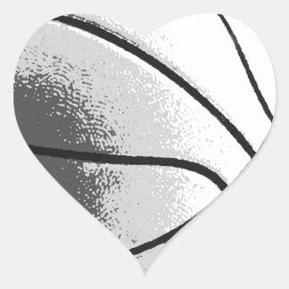 Black White Grey Trendy Pop Art Basketball Heart Sticker