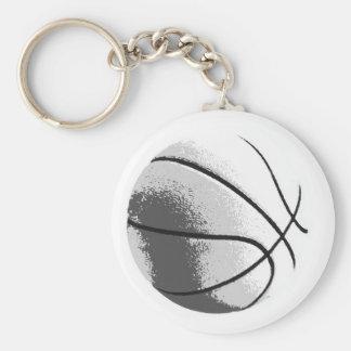 Black White Grey Trendy Pop Art Basketball Keychain