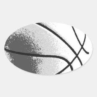 Black White Grey Trendy Pop Art Basketball Oval Sticker