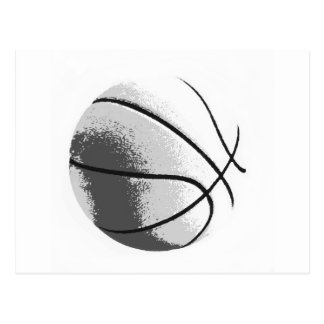 Black White Grey Trendy Pop Art Basketball Postcard