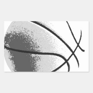Black White Grey Trendy Pop Art Basketball Rectangular Sticker