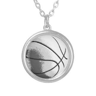 Black White Grey Trendy Pop Art Basketball Round Pendant Necklace