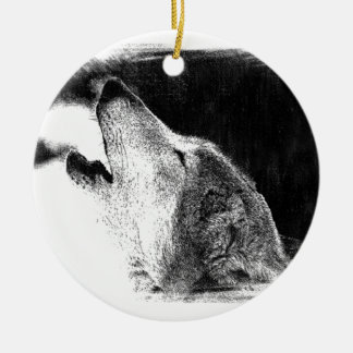Black & White Grey Wolf Sketch Artwork Ceramic Ornament