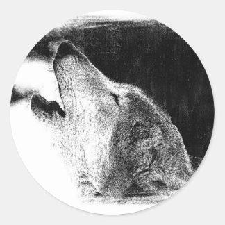 Black & White Grey Wolf Sketch Artwork Classic Round Sticker