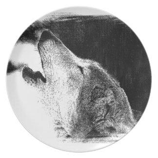 Black & White Grey Wolf Sketch Artwork Melamine Plate