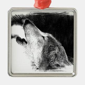 Black & White Grey Wolf Sketch Artwork Metal Ornament