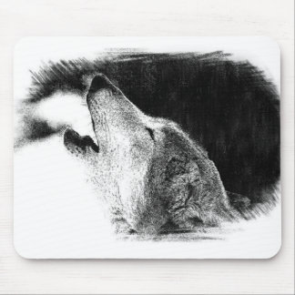 Black & White Grey Wolf Sketch Artwork Mouse Pad