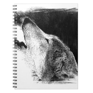Black & White Grey Wolf Sketch Artwork Notebook