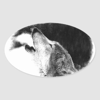Black & White Grey Wolf Sketch Artwork Oval Sticker