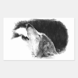 Black & White Grey Wolf Sketch Artwork Rectangular Sticker