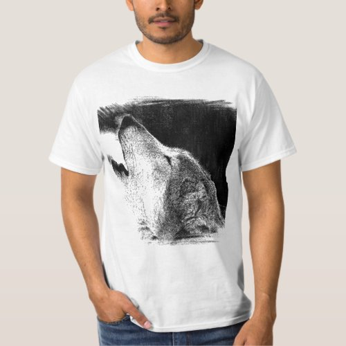 Black  White Grey Wolf Sketch Artwork T_Shirt