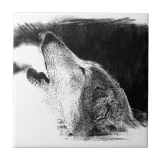 Black & White Grey Wolf Sketch Artwork Tile