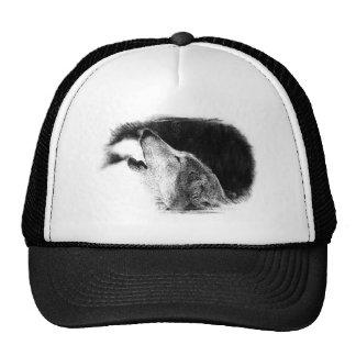 Black & White Grey Wolf Sketch Artwork Trucker Hat