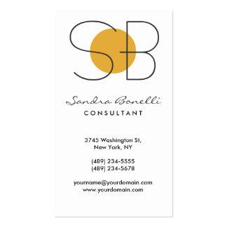 Black White Grey Yellow Monogram Business Card