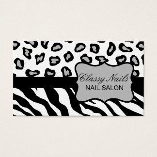 Black, White & Grey Zebra & Cheetah Custom Business Card