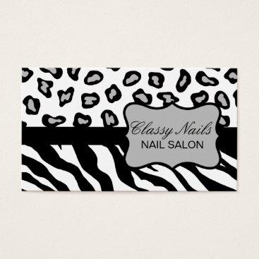 Professional Business Black, White & Grey Zebra & Cheetah Custom Business Card