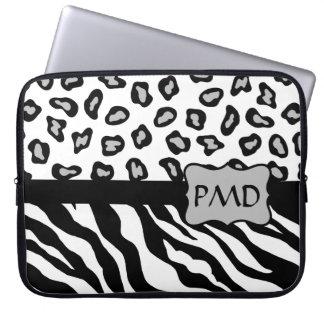 Black, White & Grey Zebra & Cheetah Skin Monogram Computer Sleeve