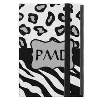 Black, White & Grey Zebra & Cheetah Skin Monogram Cover For iPad Mini