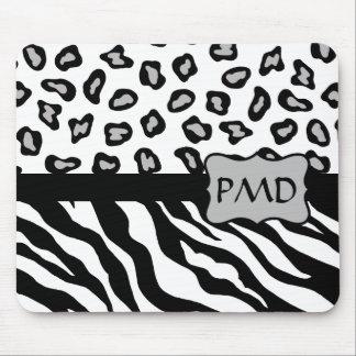 Black, White & Grey Zebra & Cheetah Skin Monogram Mouse Pad