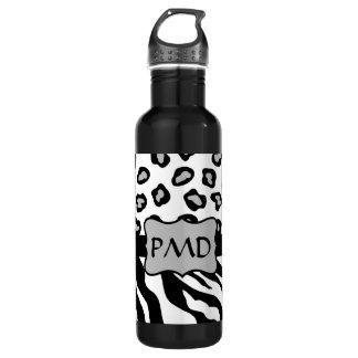Black, White & Grey Zebra & Cheetah Skin Monogram 24oz Water Bottle