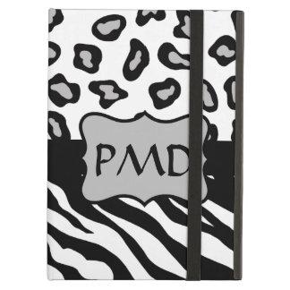 Black, White & Grey Zebra & Leopard Skin Monogram iPad Air Case