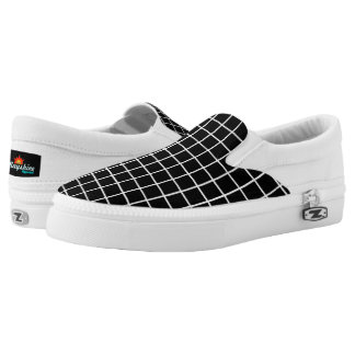 Black & White Grid Slips Ons Printed Shoes