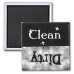 Black White Grunge Clean Dirty Dishwasher Magnet