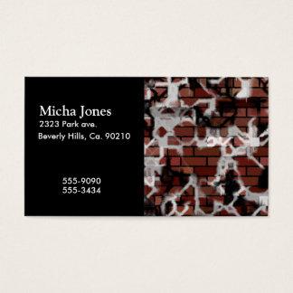 Black & White Grunge Graffiti Riddled Brick Wall Business Card