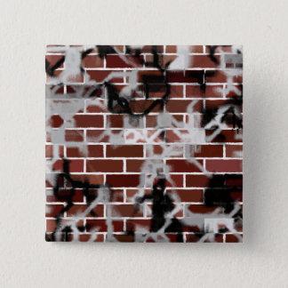 Black & White Grunge Graffiti Riddled Brick Wall Button