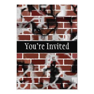 Black & White Grunge Graffiti Riddled Brick Wall Card