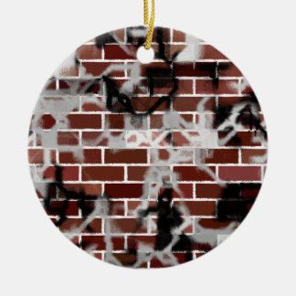 Black & White Grunge Graffiti Riddled Brick Wall Ceramic Ornament
