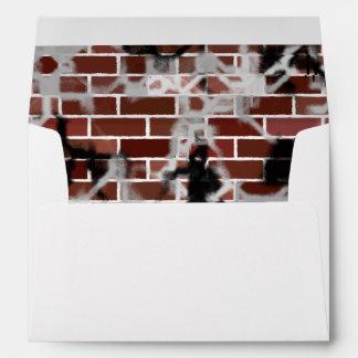 Black & White Grunge Graffiti Riddled Brick Wall Envelope