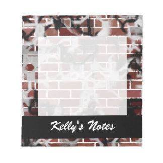 Black & White Grunge Graffiti Riddled Brick Wall Note Pad