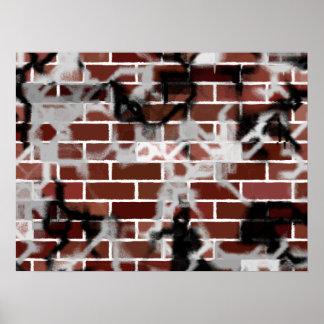 Black & White Grunge Graffiti Riddled Brick Wall Poster