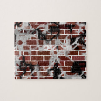 Black & White Grunge Graffiti Riddled Brick Wall Puzzle