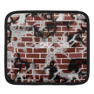 Black & White Grunge Graffiti Riddled Brick Wall Sleeve For iPads