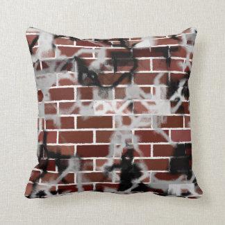 Black & White Grunge Graffiti Riddled Brick Wall Throw Pillow