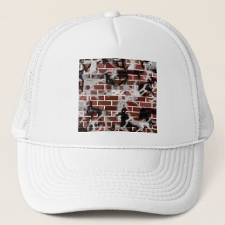 Black & White Grunge Graffiti Riddled Brick Wall Trucker Hat