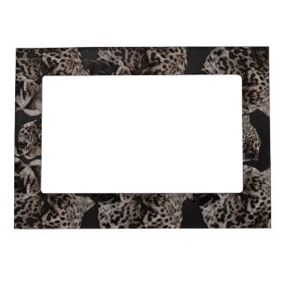 Black&White Grunge Leopard Heads Magnetic Picture Frame
