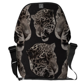 Black&White Grunge Leopard Heads Messenger Bag